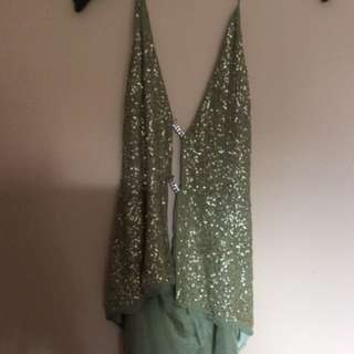 Rebecca Davies Bare Silk And Sequin Halterneck Top With Diamanté Size S