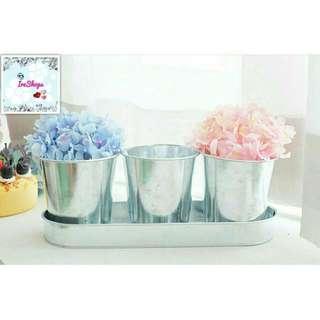 Aluminium pail set Vas Bunga Pot Bunga Vase Flower Perlengkapan Rumah Perlengkapan Taman Rose Pot Unik Kaleng Kado Unik