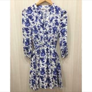 全新韓貨 藍色花紋長袖洋裝