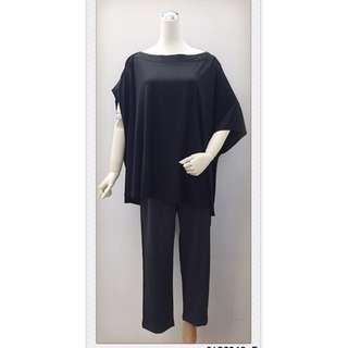 017S268 - 左右袖設計寬鬆大平口前短後長長版T