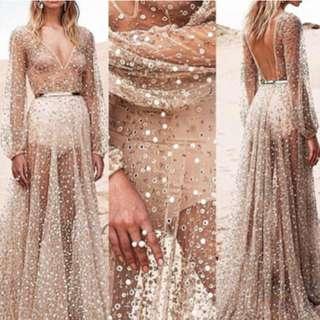Sheer Glitter Maxi Dress With long train coachella
