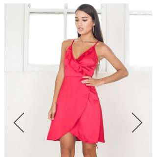 Red Silk Show Po Dress Bnwt