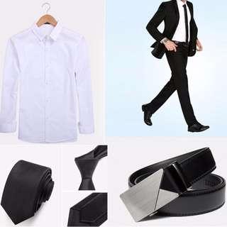 New! - Korea Style Men's Suit Set of 5 (Blazer/Pant/Shirt/Tie/Belt)