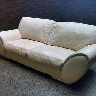 Vanilla Leather Sofa And Lounge Bundle