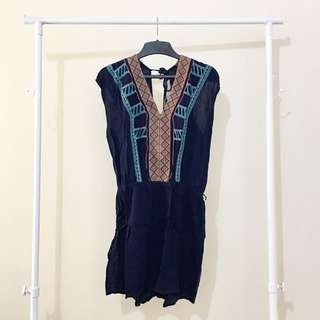 Navy Blue With Tribal Pattern Romper