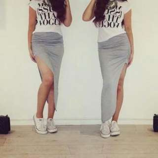 Grey Maxi Skirt With Split