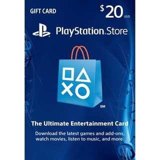 在線秒發【可超商】美國 PSN US$20 美金20元 PSV PS3 PS4 PlayStation