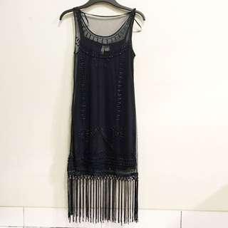 H&M New Size 36/M Fringe Navy Blue Dress