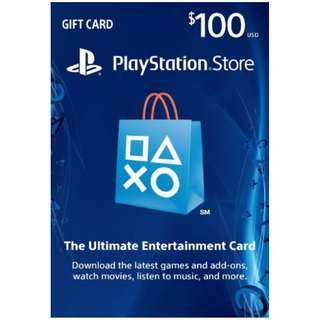 在線秒發【可超商】美國 PSN US$100 美金100元 PSV PS3 PS4 PlayStation