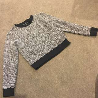 TOPSHOP Petite Black Sweater Stripes