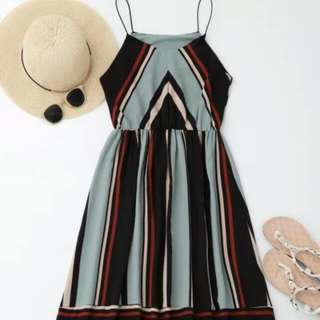 Zaful Size 8/10/12 Brand New BNWT Light Blue Midi Summer Dress Preppy, Cute And Classic RRP AU $40