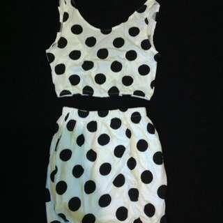 Top + Skirt Polkadot (Crop Top and High Waist Skirt)