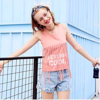 PO Sleeveless Ripped Summer Pink Casual Beach Blouse Top