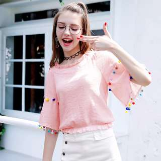 PO Colourful Pompom Trumpet Sleeve Pink Summer Blouse Crop Top