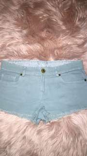Pastel Green Denim Shorts