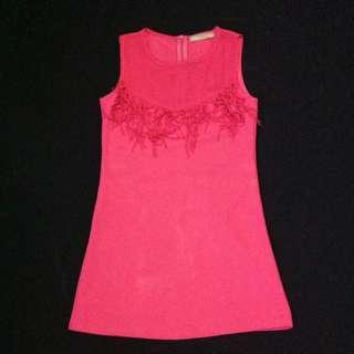 Fringe Pink Short Dress