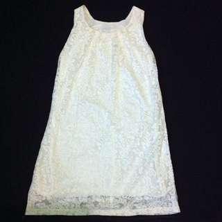 Lace Broken White Sleveless Dress (brukat)