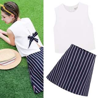 PO Ribbon Bare Back Sleeveless Crop Top Striped A-line Skirt Pants Set