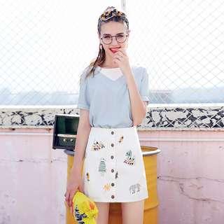 PO Cute Animal Prints Button Down A-line White Skirt