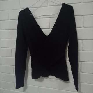 Kookai Long Sleeve Cross Over Top