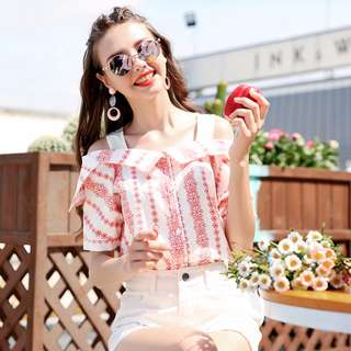 PO Pink Floral Tribe Fake Two Piece Off Shoulder Elegant Blouse Top