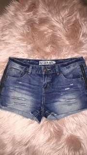 Mid Rise Medium Wash Denim Shorts