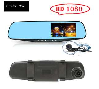 HD 1080 Dual Lens Rear View 4.3 inch Viewable Video Car Cam Recorder camera