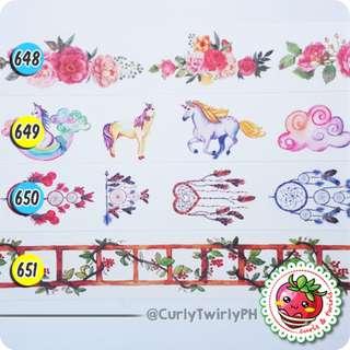 [BATCH #092-095] Washi Samples - WIDE! Unicorns/Dreamcatchers/Travel/Pizza/Sushi