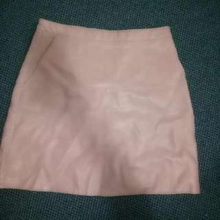 Pink Leather Look Mini Skirt