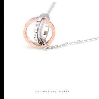 Riisa-白鋼玫瑰金項鍊-全新免運