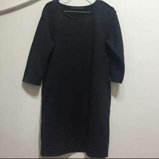 2143七分袖微厚棉長版洋裝