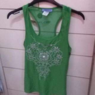 sequined Green Razor Back Mesh Top Sleeveless