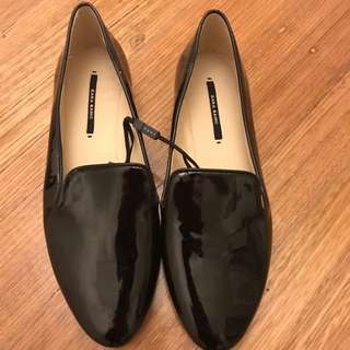 Zara Patent Flat Shoe Black Or Nude 38