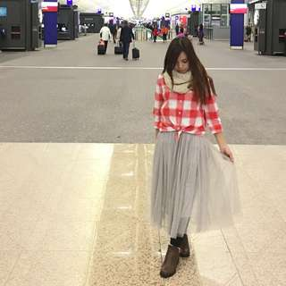 灰美長紗裙(有內襯)