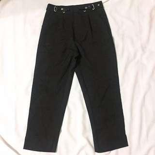金屬環扣黑色休閒西裝褲 全新
