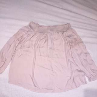 Pearl silk off the shoulder top