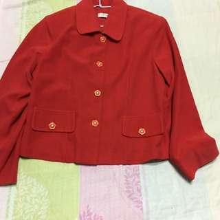 超美紅花朵外套