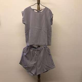 🌈fun fun store🦄灰色後綁帶衣+褲