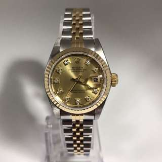 Rolex Datejust Champagne Face With Diamonds Ladies