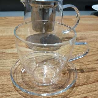 Delicate Glass Teacup With Saucer (CLEARANCE PROMO)
