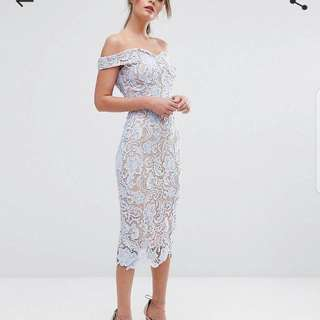 Boohoo Lace Off The Shoulder Midi Pencil Dress