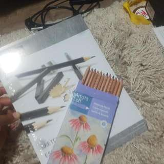 Water Colour Pencil Crayons + Sketchpad (New)