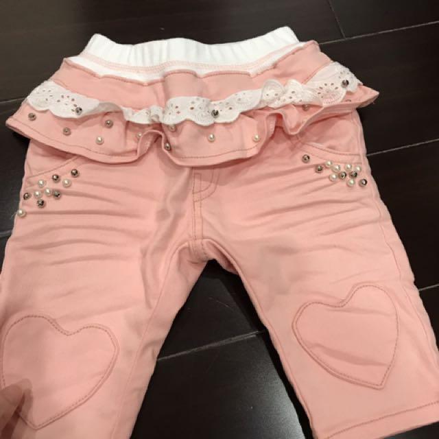正韓粉紅牛仔褲(軟布)