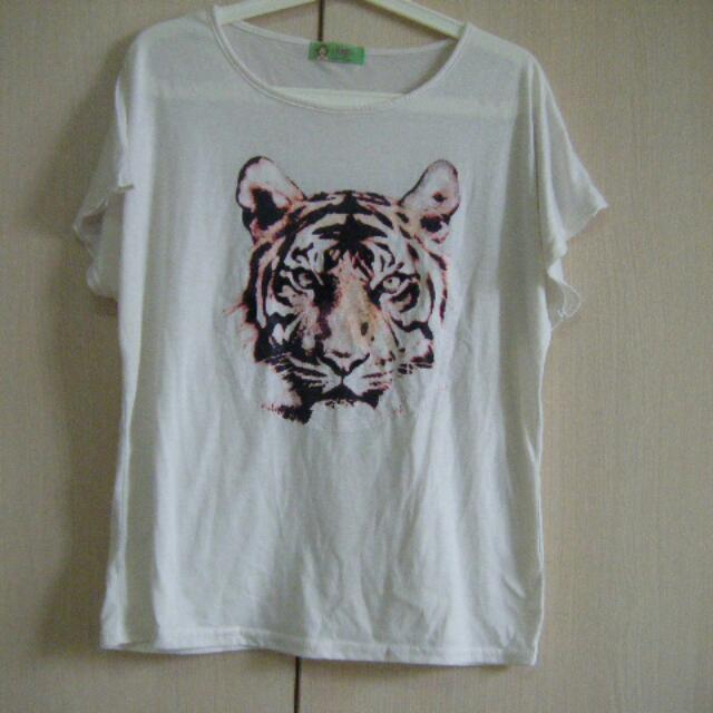 韓版 虎頭圖案 Oversize 寬版T恤