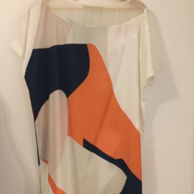Alpha60 White, Orange And Blue Dress