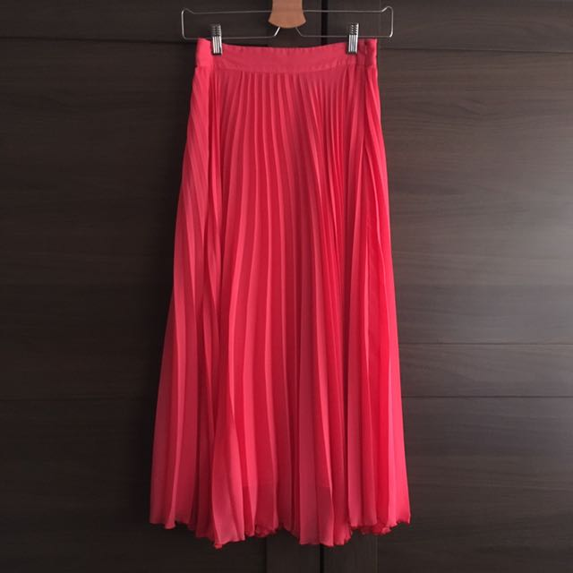 outlet for sale moderate price luxury ASOS Bright Coral Pleated Maxi Skirt (UK 6), Women's Fashion ...