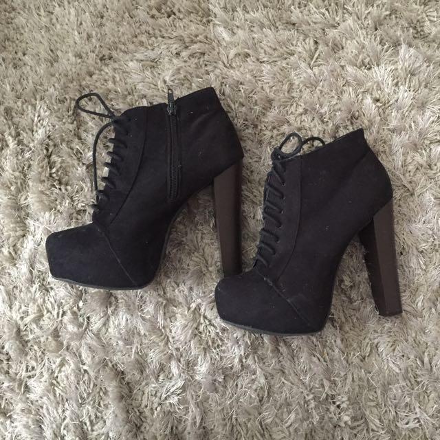 Black High Heel Booties