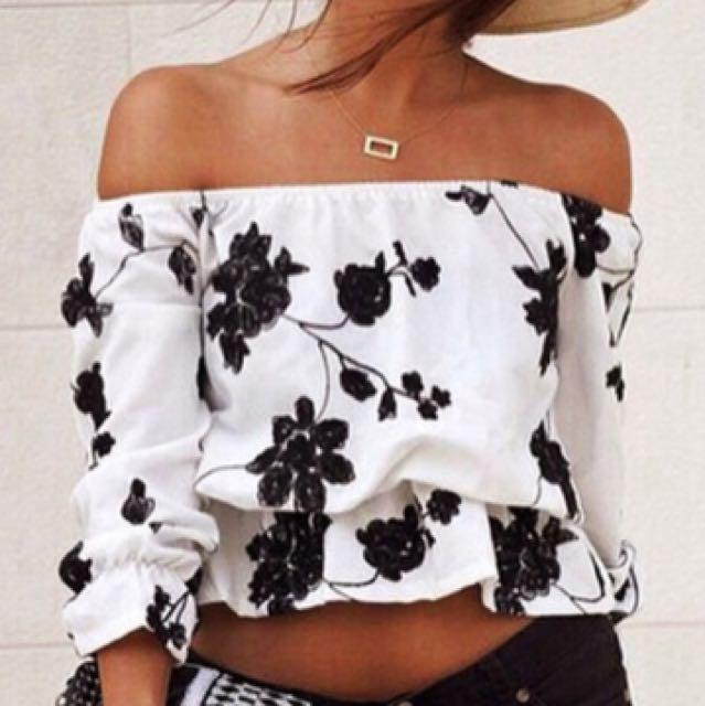 Black&white Floral Off The Shoulder