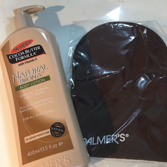 brand new palmers natural bronze body lotion with tanning mitt
