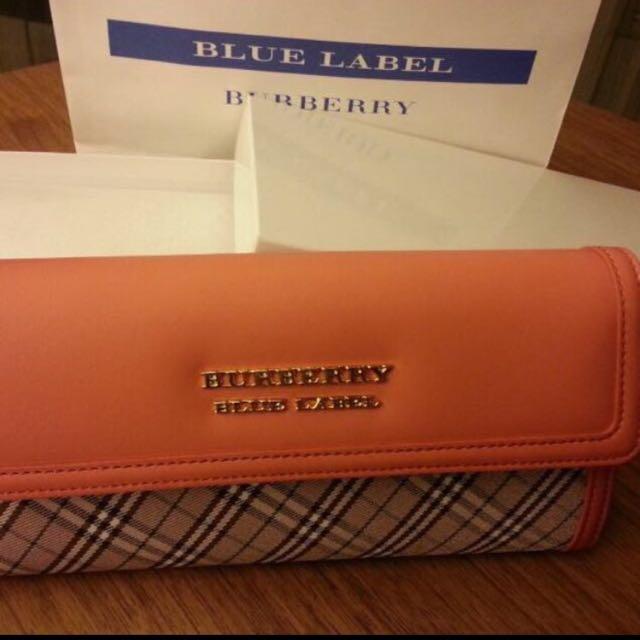 Burberry 藍標亮橘格紋長夾